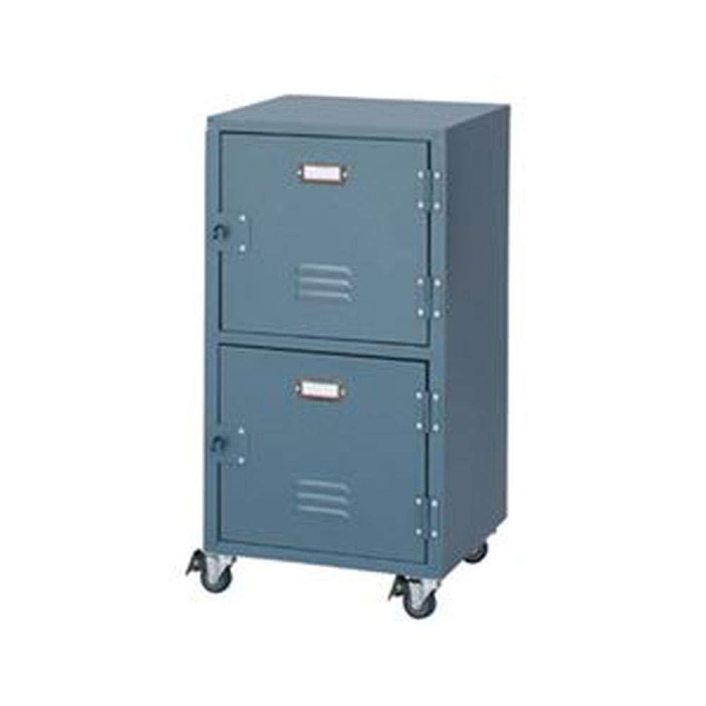 レトロ風/チェスト/収納棚/ 2段/グリーン /幅39cm/キャスター付き/スチール/ハンマートーン仕上げ/リビング/ベッドルーム B07T8N2RF6