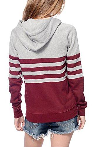 Maniche Hoody Strisce Sportiva Pullover Red Giacca Invernale BESTHOO Casuali Moda Hoodies Elegante Autunno Lunghe Streetwear Outwear Con A Felpa Donna Sweatshirt Cappuccio vxI6w