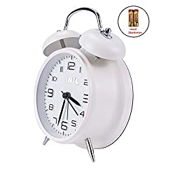 Retro Twin Bell Silent Non Ticking Sweep Second Hand Bedside Desk Analog Quartz Movement Alarm Clock with 5 min Snooze Repeat Alarm, Nightlight and Loud Alarm, Battery Operated