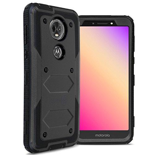 Cover Metro Plate - Moto E5 Plus Case, Moto E5 Supra Case, CoverON [Tank Series] Protective Full Body Phone Cover with Tough Faceplate for Motorola Moto E5 Plus / E5 Supra - Black