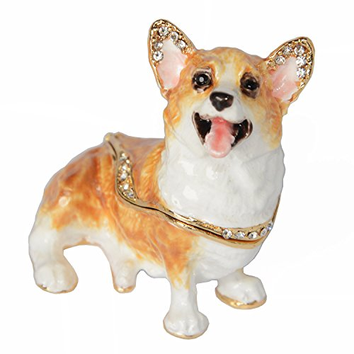 Minihouse Welsh Corgi Jewelry Trinket Box for Ring Enamel Crystal Dog Keepsake Box
