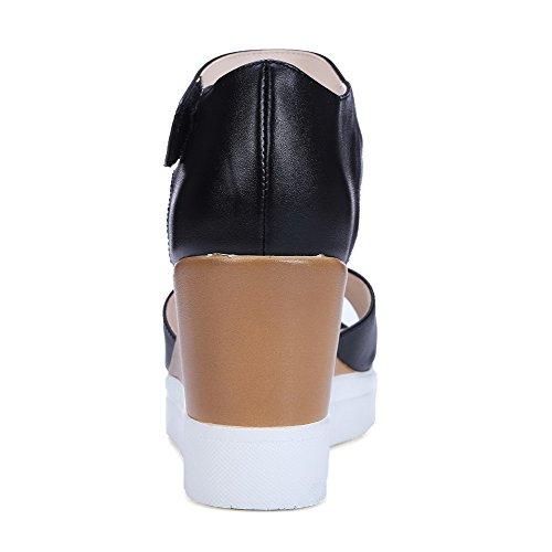 AgooLar Mujeres Plataforma Sólido Velcro Puntera Abierta Sandalia Negro