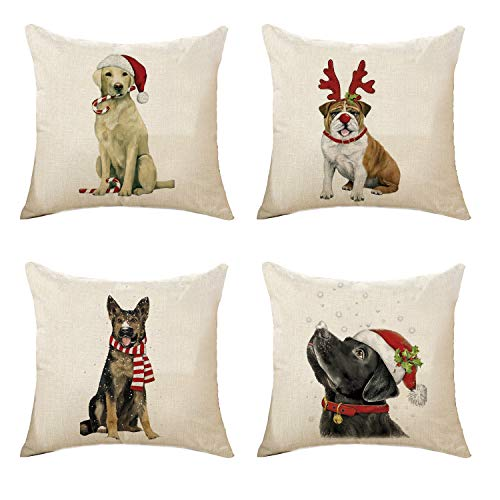 - Decorative Throw Pillow Covers Set of 4 Cotton Linen Cushion Covers 18 x 18 Inch (Style-F)