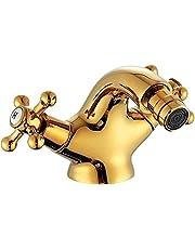 YMLSD Faucets,Faucet Electroplated Surface Gold Bidet Faucet Shaft Tap Double Handle Golden Basin Bidet Mixer Crane Antique Brass Tap Bathroom Faucet with Accessories