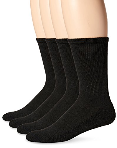 Shoes Without Socks - Dr. Scholl's Men's 4 Pack Diabetic and Circulatory Non-Binding Crew Sock, Black, Shoe Size:7-12