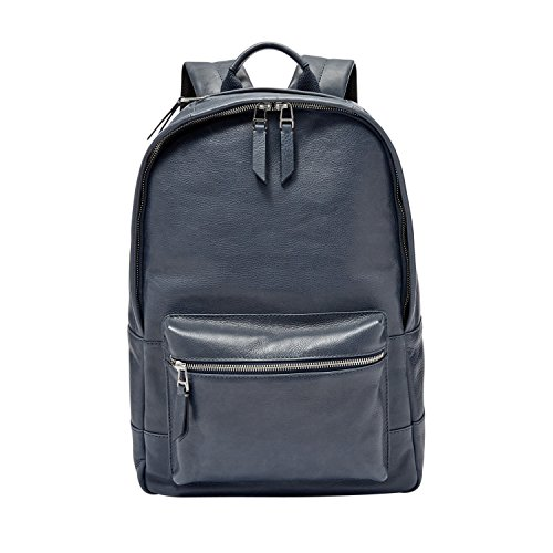 Fossil Estate Leather Navy Backpack, Navy
