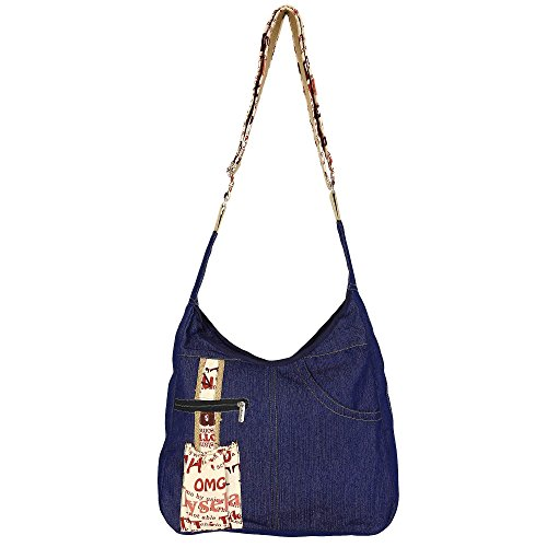 (Blue Denim Crossbody Bag for Women Handbag Hobo Tote Top Handle Shoulder Collage)
