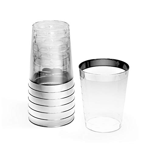 Occasions 100 pcs Wedding Party Disposable Plastic tumblers/Cups (10 Oz, Silver Rimmed Tumbler)