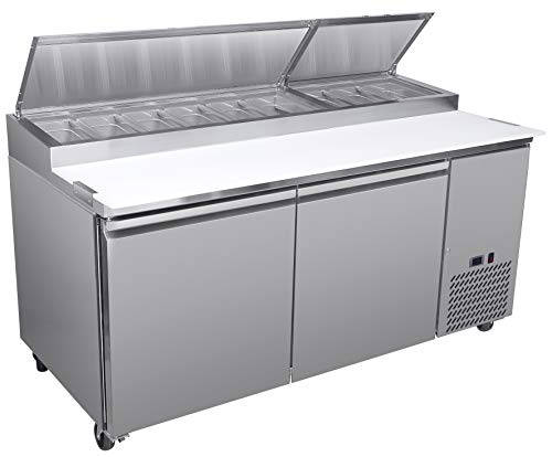 (Chef's Exclusive CE373 Two 2 Double Door Commercial Pizza Prep Table Stainless Steel Cooler Refrigerator 20.9 Cubic Feet (9) 1/3 Size Pans Environmentally Friendly R290 Refrigerant, 71