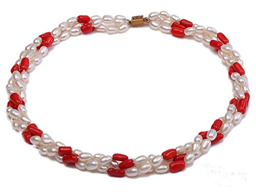 (JYX Pearl Triple Strand Necklace 6x8mm White Freshwater Pearl and Red Coral Beads Necklace 20