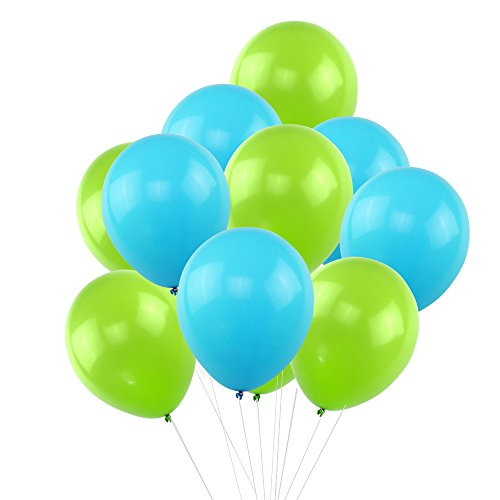 Kumeed Sky Blue Green Balloons 12  Latex Balloons Vivid Bright Color Balloon Globos Party Birthday Wedding Balloons Pack Of 100