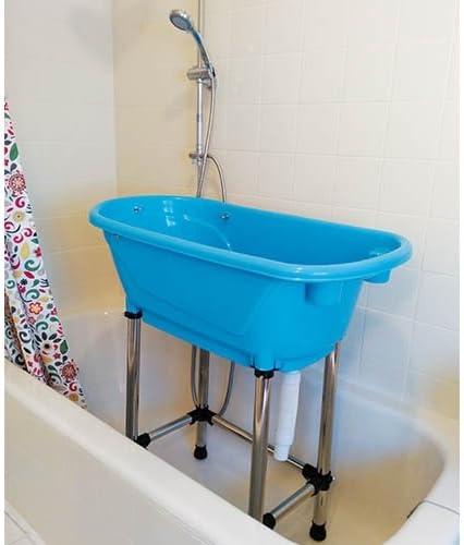 bañera de peluquería canina dentro de bañera normal, color azul, con patas de acero inoxidable