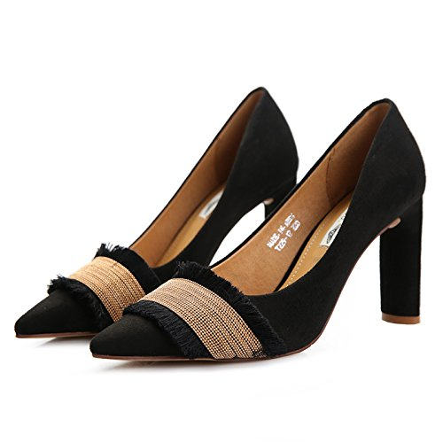 Work Track Leisure And Black Black Tip Light Lady Versatile Women'S 5Cm Spring Spring The MDRW Shoes Heeled Velvet High Shoes Elegant Of Stitching Shoes Version And The Heavy 8 Korean Autumn tRE4WwWqAP