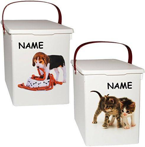 alles-meine.de GmbH 1 Stück _ Futterbox / Futterdose - süße Haustiere - incl. Name - für Tierfutter - Katzenfutter - Hundefutter - 5 Liter - Vorratsdose / Aufbewahrungsbox - ..
