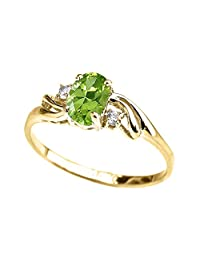 Exquisite 10k Yellow Gold Oval-Shaped August Birthstone with White Topaz 3-Stone Proposal Ring