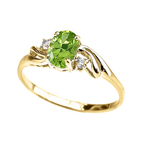 Exquisite 10k Yellow Gold Oval-Shaped August Birthstone with White Topaz 3-Stone Proposal Ring (Size 8)