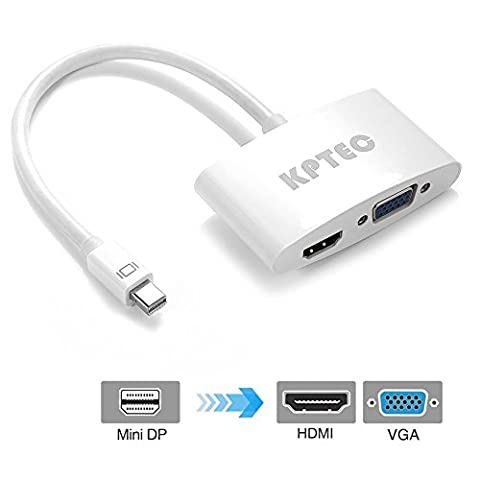 KPTEC Mini DisplayPort (Thunderbolt) to HDMI VGA Adapter Converter - White (Thunderbolt Splitter Cable)
