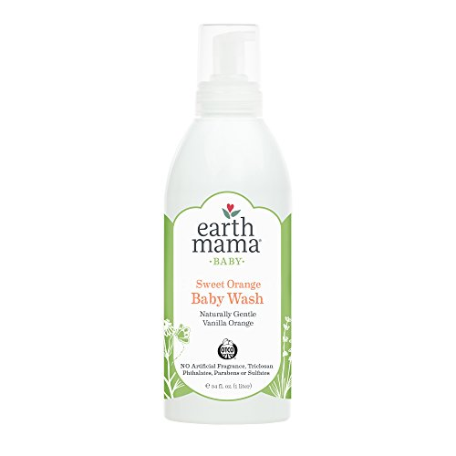Earth Mama Sweet Orange Baby Wash Gentle Castile Soap for Sensitive Skin, 34-Fluid Ounce