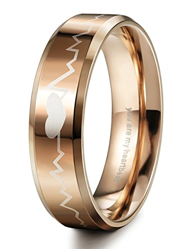 LOYALLOOK Stainless Steel Couple Wedding Band Rings Engraved Heart Beat Men Women Anniversary Gift 6mm Rose - Biker Costume A To How Make