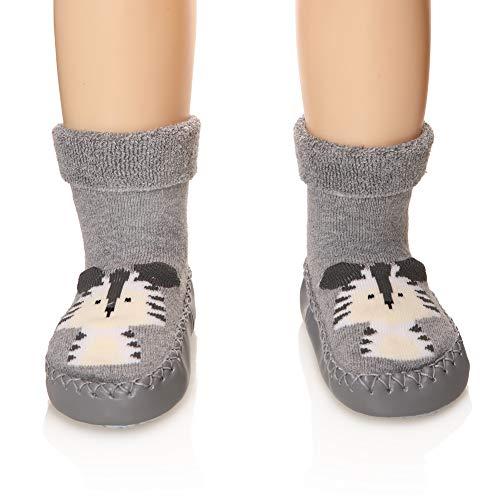 Eocom Baby Boy Girls Toddlers Moccasins Non-Skid Indoor Slipper Shoes Socks (Gray, 12-18 Months)