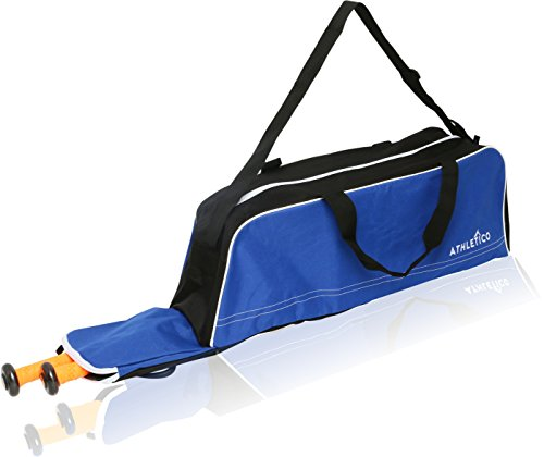 Athletico Baseball Tote Bag - Tote Bag for Baseball, T-Ball & Softball Equipment & Gear for Kids, Youth, and Adults | Holds Bat, Helmet, Glove, & Shoes | Fence Hook (Blue) (Hanging Team Bat Bag)