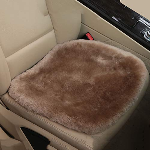 MLOVESIE Genuine Sheepskin Auto Seat Pad, Australian Soft Wool Seat Cover Comfort Warm with Non-Slip Backing Universal Fit,49cm49cm (Tan)