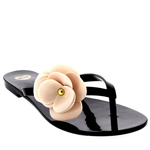 Womens Mel Dreamed By Melissa Honey 3 Summer Beach Vacation Flip Flops - Black - 7