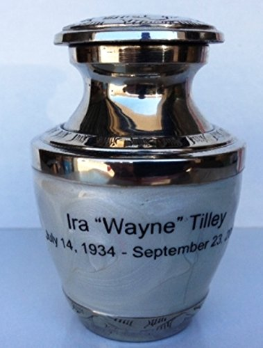 (Customized Pearl White Keepsake Cremation Urn, Funeral Tokens, Ash Urns with Personalized Engraving - Small Size)