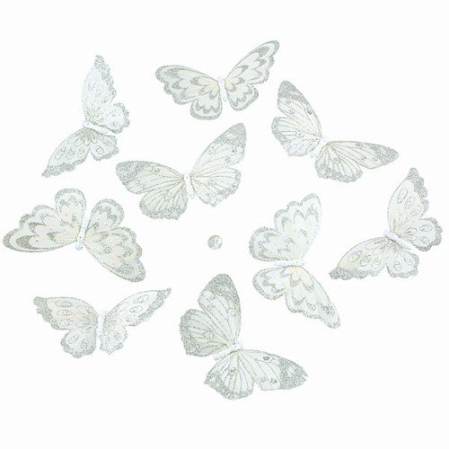 """WHITE WITH SILVER GLITTER BUTTERFLY GARLAND 5x2.5x78""""L"""
