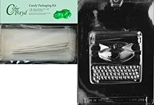 Cybrtrayd Large Typewriter Jobs Chocolate Candy Mold/Packaging Bundle of 25 Cello Bags, 25 Silver Twist Ties and Chocolate-Molding Instructions