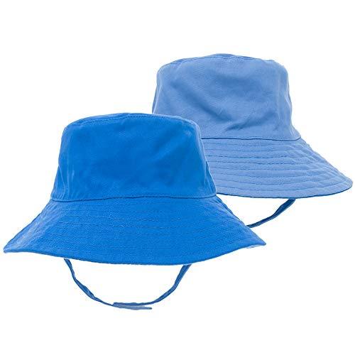 Opromo Baby & Toddler Soft Cotton Reversible Bucket Hat Sun Protection Hat-Blue/Light Blue-50cm/12~24M