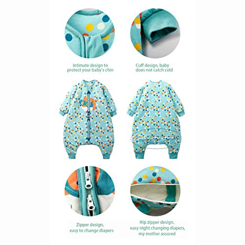 HUYP Split Leg Sleeping Bag Autumn and Winter Thickening Baby Child Child Baby with Sleeve Double Zipper Anti-Kick (Size : XXL) by Baby Sleeping Bag (Image #4)