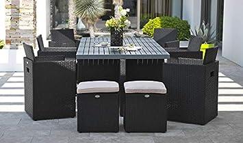 Encastrable 10 places en résine tressée, plateau aluminium: 1 table ...