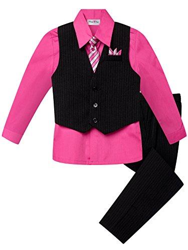 OLIVIA KOO Boy's Colored Shirt Pinstripe 4 Piece Pinstriped Vest Set Size Infant-Boy 20