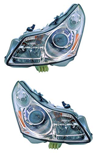 For 2007 2008 Infiniti G35 Sedan Headlights Headlamps Assembly Driver Left and Passenger Right Side Pair Set Replacement IN2502137 IN2503137 ()