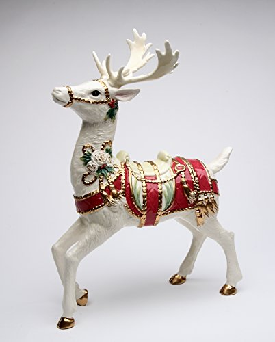 Cosmos Gifts 10677 Christmas Fantasia White Standing Reindeer Figurine 13