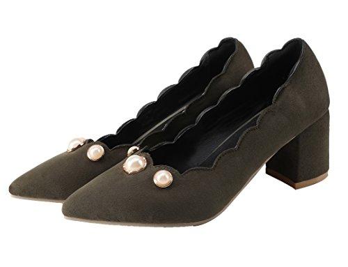 Amoonyfashion Femmes Pull-ons Chaton-talon Dépoli Solide-bout-pompes-chaussures Armée Vert