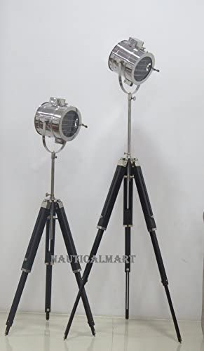 NauticalMart Vintage Industrial Theatre Stage Spotlight Searchlight Tripod Floor Lamp Set of 2