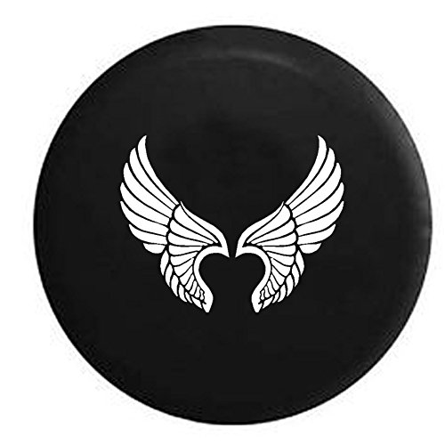 Angel Fairy Motorcycle Wings Girl Jeep Spare Tire Cover Vinyl Black 31 in]()