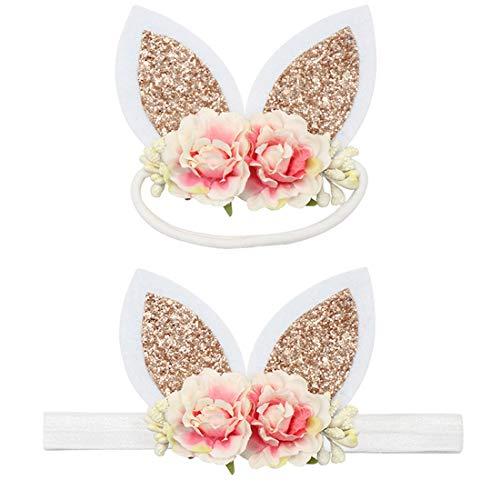 Easter Headband for Baby Girls Bunny Rabbit Ear Headbands with Flower Crown ZHB04 (Gold Bunny -