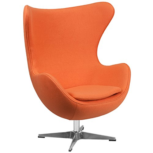 Flash Furniture Orange Wool Fabric Egg Chair with Tilt-Lock Mechanism