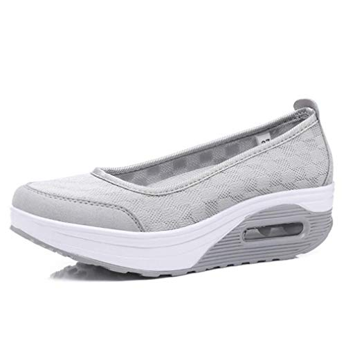 Summer Women Casual Shoes Red Platform Sneakers Slip On Damping Breathable Air Swing Shoes Wedge Trainers