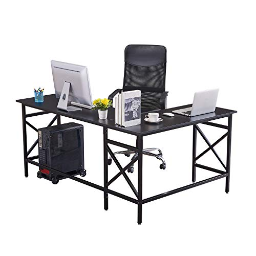 DORAFAIR L Shaped Computer Desk, Office Home Large Corner Table, Modern Gaming Laptop Study Table Workstation Spacious Work Area with CPU Stand