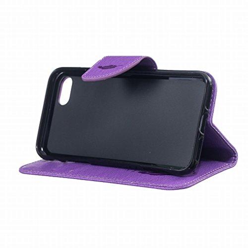 Yiizy Apple IPhone 7 / 7S Hülle, Feather Prägung Entwurf PU Ledertasche Klappe Beutel Tasche Leder Haut Schale Skin Schutzhülle Cover Case Stehen Kartenhalter Stil Bumper Schutz (Lila)