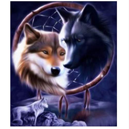 GLLCYL Kits de Pintura al óleo 5D DIY Animal Wolf Picture Pintura al óleo by Numbers decoración para el hogar Regalo de la Lona 40x50cm