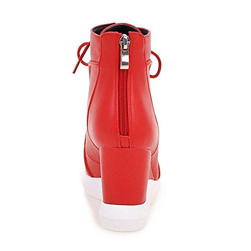5 4 Femmes Decostain 9 Les De Femmes D'hiver Chaussures bottes 7 Zip Coin Bloc 8 Noir Glissement Taille Pull 6 6 Sur Mi Dames La De Coins Haute 3 Cheville Rouge Des 5 Swxr4Sq