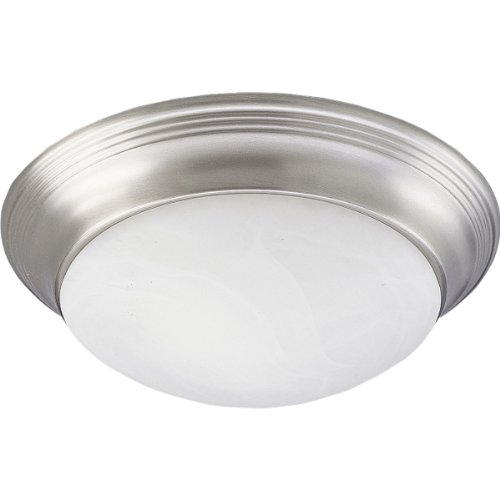 Progress Lighting P3689-09 2-Light Close-To-Ceiling Fixture with Etched Alabaster Style Twist On Glass, Brushed Nickel