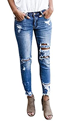 Farktop Womens Jeans Distressed Boyfriend Skinny Low Rise Stretch Ripped Biker Denim Pants
