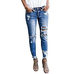 Imily Bela Women's Distressed Jeans Ripped Skinny Leggings Frayed Cuff Broken Denim Pants