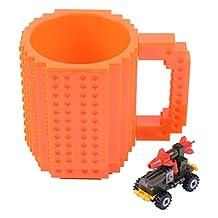 Creative DIY Building Blocks Bottle - Wonder4 Build-On Brick Mug Coffee Cup Lego Type Puzzle Mugs Tea Beverage Drinking Funny Gift
